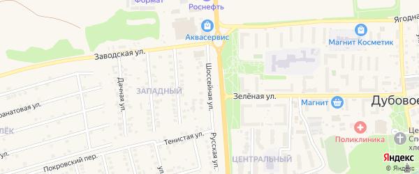 Шоссейная улица на карте поселка Дубового с номерами домов
