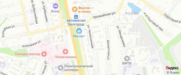 Улица Челюскинцев на карте Белгорода с номерами домов
