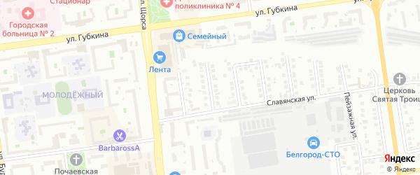 Юрьевский переулок на карте Белгорода с номерами домов