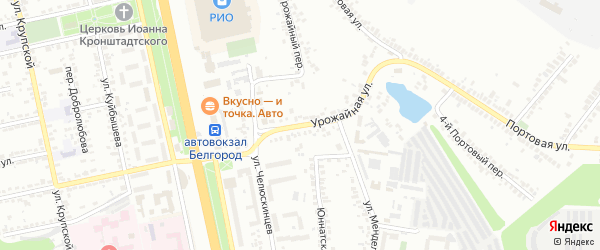 Урожайная улица на карте Белгорода с номерами домов