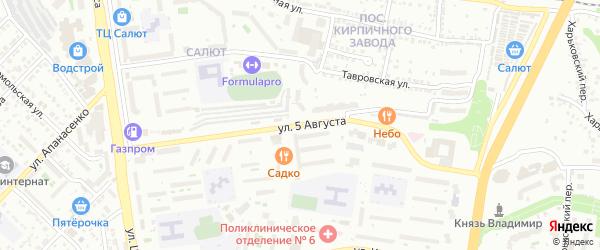 Улица 5 Августа на карте Белгорода с номерами домов