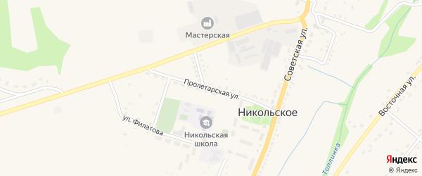 Пролетарская улица на карте Никольского села с номерами домов