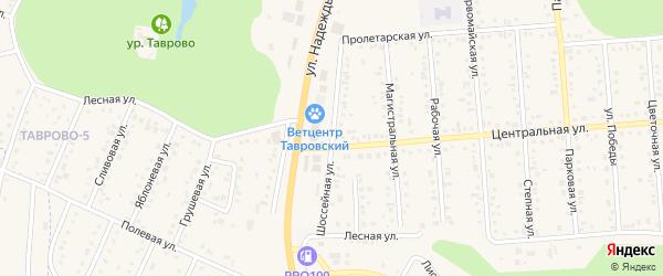 Шоссейная улица на карте Таврово 4-й микрорайона с номерами домов