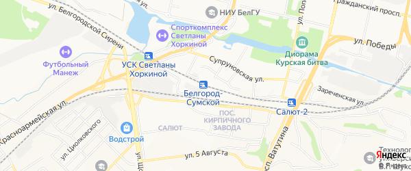 СТ Зеленая горка на карте Белгорода с номерами домов