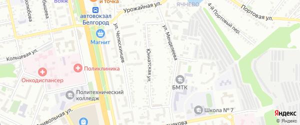 Юннатская улица на карте Белгорода с номерами домов
