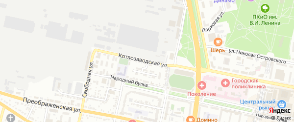 Котлозаводская улица на карте Белгорода с номерами домов
