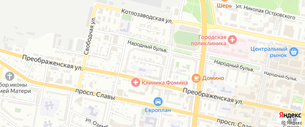 Переулок Пушкина на карте Белгорода с номерами домов