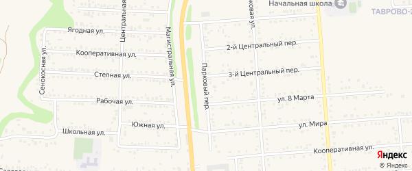 Парковый переулок на карте Таврово 2-й микрорайона с номерами домов