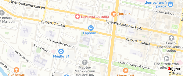 Улица Пушкина на карте Белгорода с номерами домов