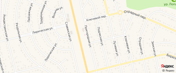 Пригородная улица на карте Таврово 9-й микрорайона с номерами домов