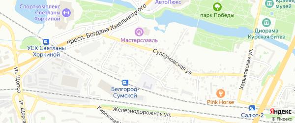 Супруновский 3-й переулок на карте Белгорода с номерами домов