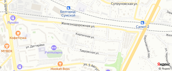 Кирпичная улица на карте Белгорода с номерами домов