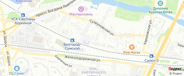 Супруновский 2-й переулок на карте Белгорода с номерами домов