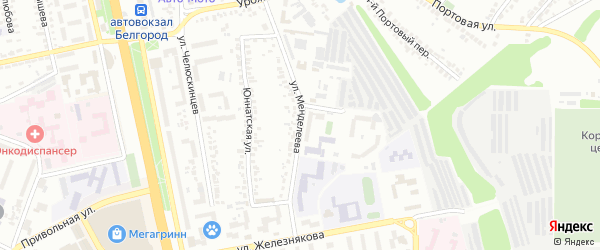 Улица Менделеева на карте Белгорода с номерами домов