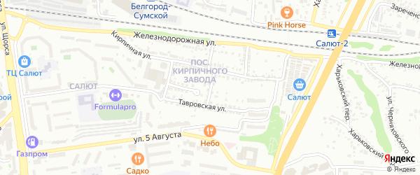 Кирпичный 2-й переулок на карте Белгорода с номерами домов
