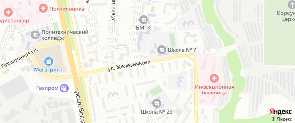 Улица Железнякова на карте Белгорода с номерами домов