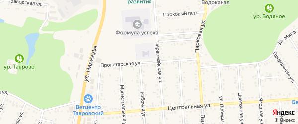 Пролетарская улица на карте Таврово 4-й микрорайона с номерами домов