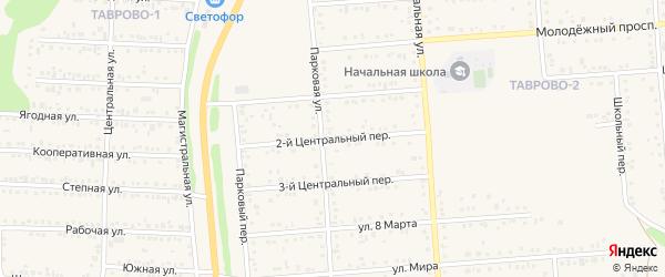 Центральный 2-й переулок на карте Таврово 2-й микрорайона с номерами домов