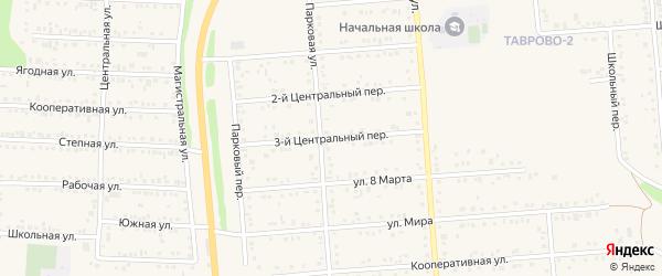 Центральный 3-й переулок на карте Таврово 2-й микрорайона с номерами домов