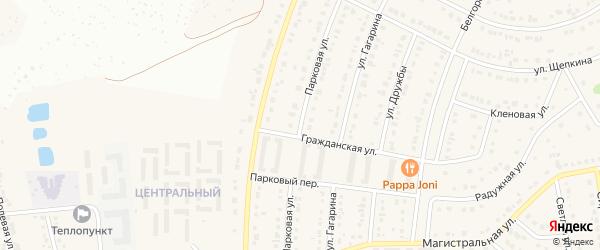 Парковая улица на карте Северного поселка с номерами домов