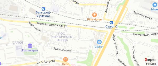 Кирпичный 1-й переулок на карте Белгорода с номерами домов