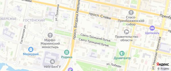 Троицкий тупик на карте Белгорода с номерами домов