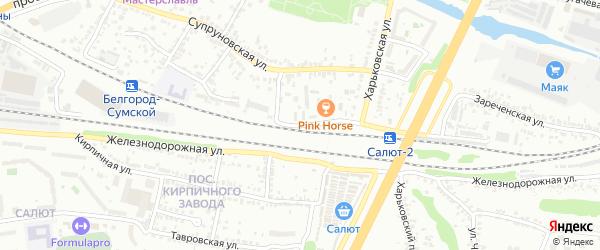 Железнодорожная улица на карте Белгорода с номерами домов