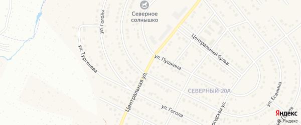 Центральная улица на карте Северного поселка с номерами домов
