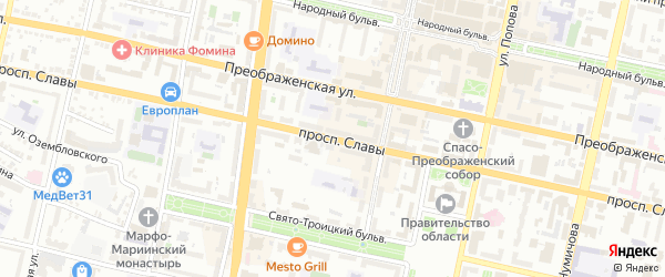 Проспект Славы на карте Белгорода с номерами домов