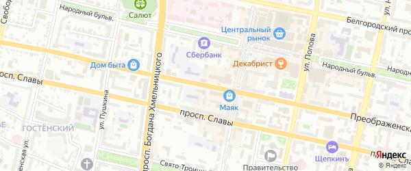 Преображенская улица на карте Белгорода с номерами домов
