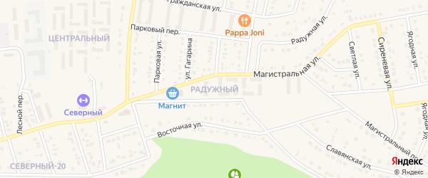 Радужный микрорайон на карте Северного поселка с номерами домов