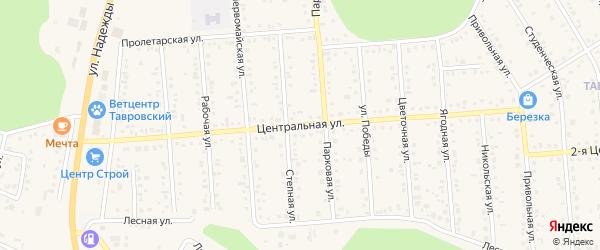 Центральная улица на карте Таврово 4-й микрорайона с номерами домов