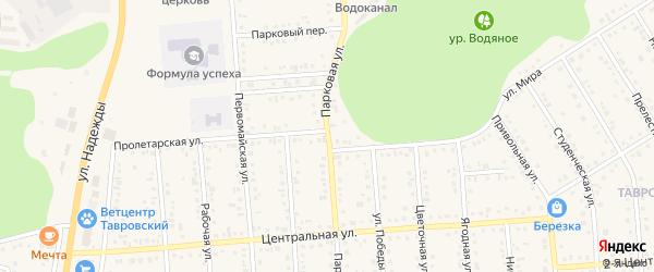 Парковая улица на карте Таврово 4-й микрорайона с номерами домов