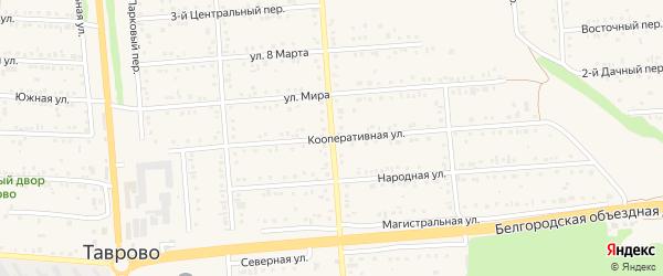 Кооперативная улица на карте Таврово 1-й микрорайона с номерами домов