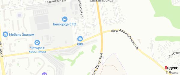 Проезд Автомобилистов на карте Белгорода с номерами домов