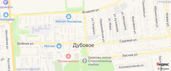 Магистральная улица на карте поселка Дубового с номерами домов