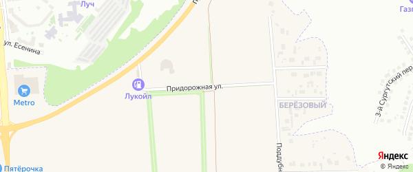 Придорожная улица на карте поселка Дубового с номерами домов
