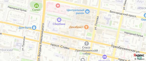 Улица 50-летия Белгородской области на карте Белгорода с номерами домов