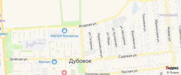 Улица Гагарина на карте поселка Дубового с номерами домов