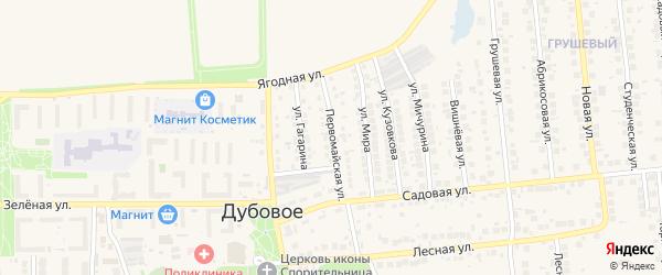 Первомайская улица на карте поселка Дубового с номерами домов