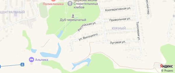 Улица Высоцкого на карте поселка Дубового с номерами домов