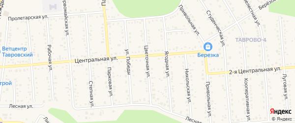 Цветочная улица на карте Таврово 4-й микрорайона с номерами домов
