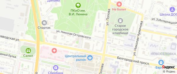 Улица Н.Островского на карте Белгорода с номерами домов
