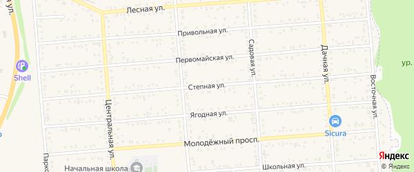 Степная улица на карте Таврово 1-й микрорайона с номерами домов