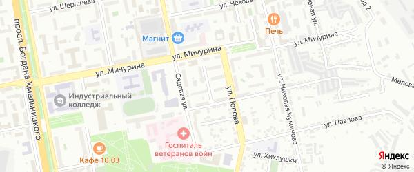 Переулок Попова на карте Белгорода с номерами домов