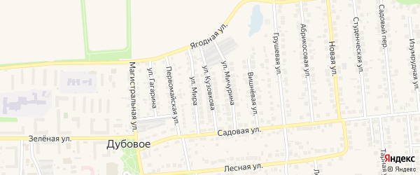 Улица Кузовкова на карте поселка Дубового с номерами домов