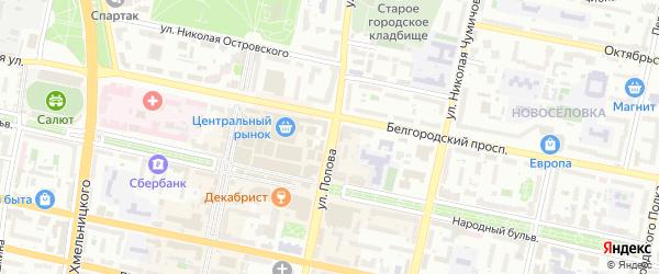 Улица Попова на карте Белгорода с номерами домов