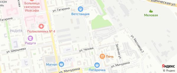 Мичуринский 1-й переулок на карте Белгорода с номерами домов