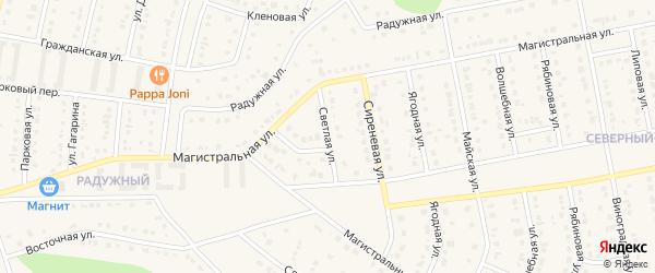 Светлая улица на карте Северного поселка с номерами домов