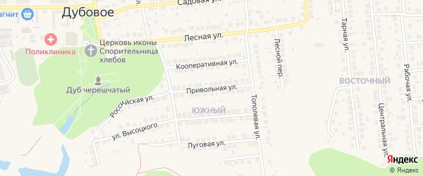 Привольная улица на карте поселка Дубового с номерами домов